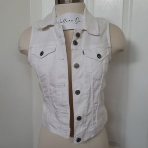 Levis White Jean Vest Jacket